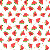 Seamless pattern with sliced watermelon, juice splash and loose seeds. Flat design.