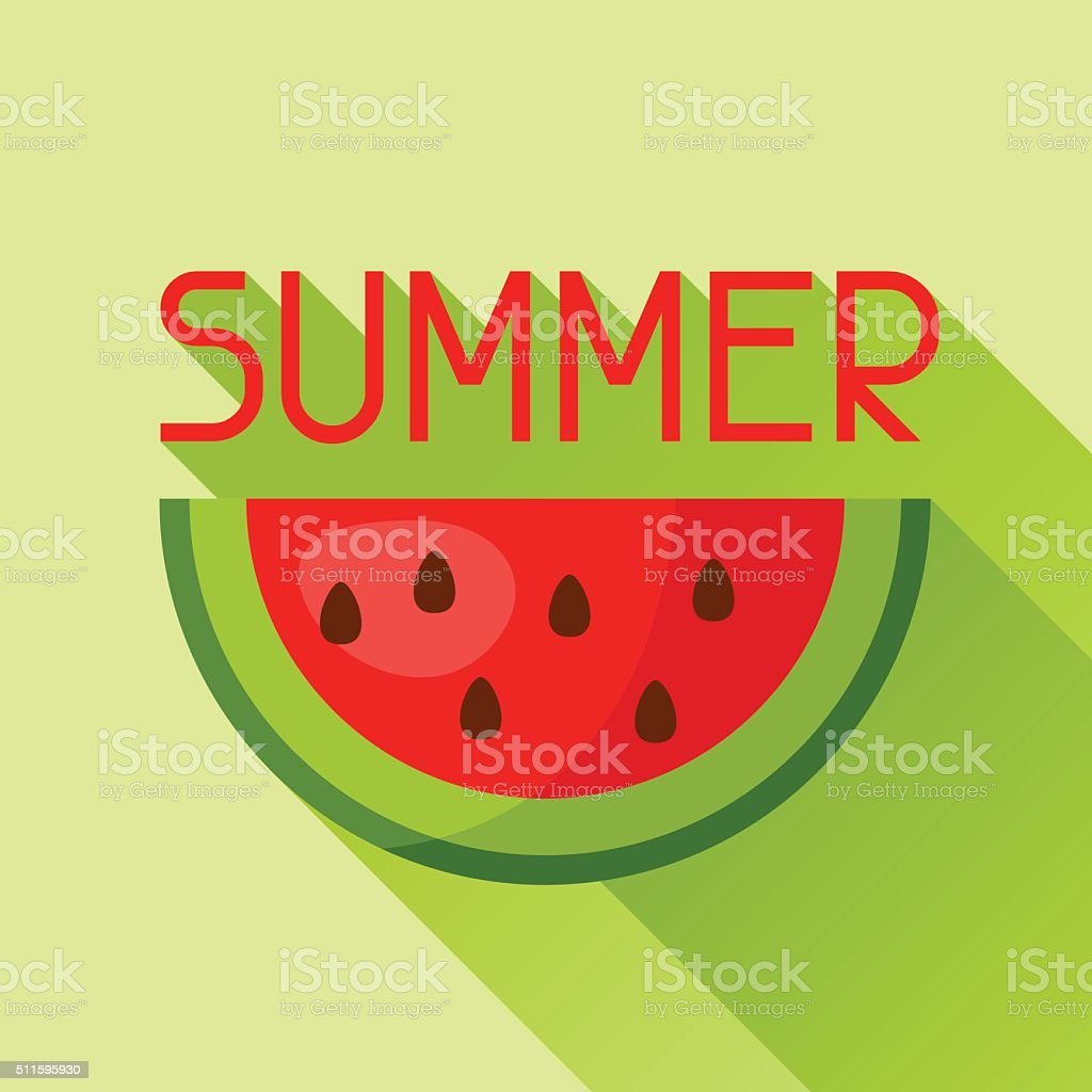 watermelon slice cut in flat style image for advertising booklets