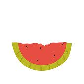 Watermelon slice fresh veg product, organic farm food production vector illustration. Cartoon healthy sliced watermelon for vegetarian or vegan diet isolated on white