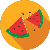 Vector illustration of Watermelon slices. Flat Design BBQ or barbecue themed Icon with shadow. Vector eps 10, fully editable.