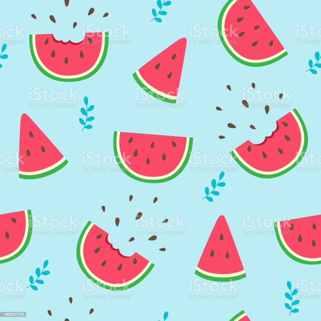 Watermelon slices seamless pattern on blue background watermelon slices seamless pattern on blue background - stockowe grafiki wektorowe i więcej obrazów abstrakcja royalty-free