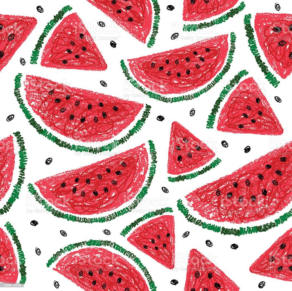 Watermelon slices seamless pattern. Watermelon background. vector art illustration