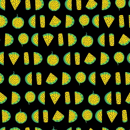 Watermelon slices with yellow fresh and seeds on black seamless pattern vector