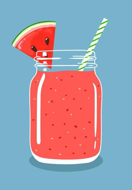 illustrazioni stock, clip art, cartoni animati e icone di tendenza di watermelon smoothie in mason jar with slice of watermelon and swirled straw. vector hand drawn illustration. - fruit juice bottle isolated