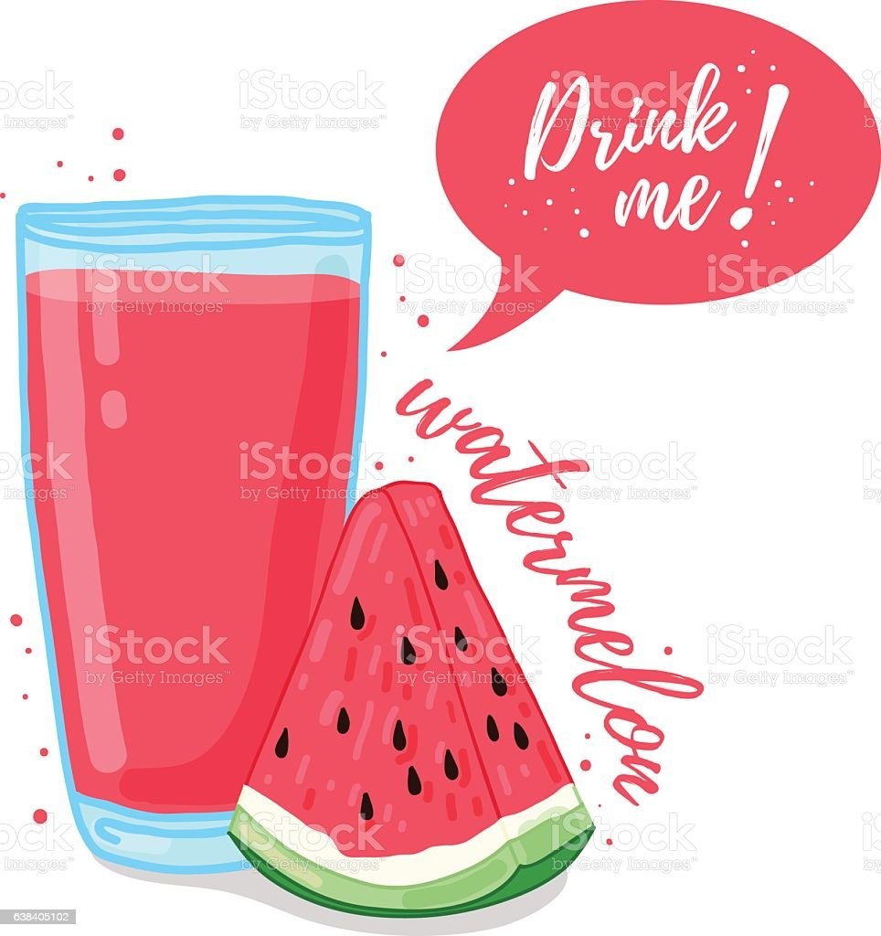 Watermelon smoothies. Illustration of watermelon juice Drink me. vector art illustration