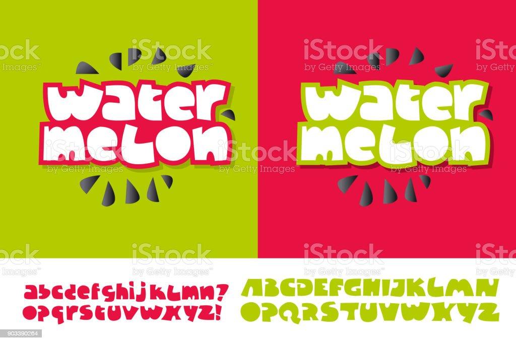 Wassermelone-Text für Print und Web auf roten und grünen Farben. Alphabet in niedlichen Kind Stil gesetzt. Extra-Fett Buchstaben für lustige Schriftzüge. – Vektorgrafik