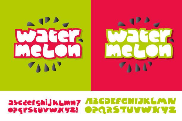wassermelone-text für print und web auf roten und grünen farben. alphabet in niedlichen kind stil gesetzt. extra-fett buchstaben für lustige schriftzüge. - graffiti schriftarten stock-grafiken, -clipart, -cartoons und -symbole