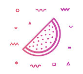 Watermelon icon shape with outline vector illustration. Concept line icon for social media, networking, marketing, social media campaign etc.