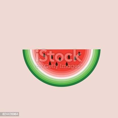 Slice of watermelon vector illustration over pink backgroung