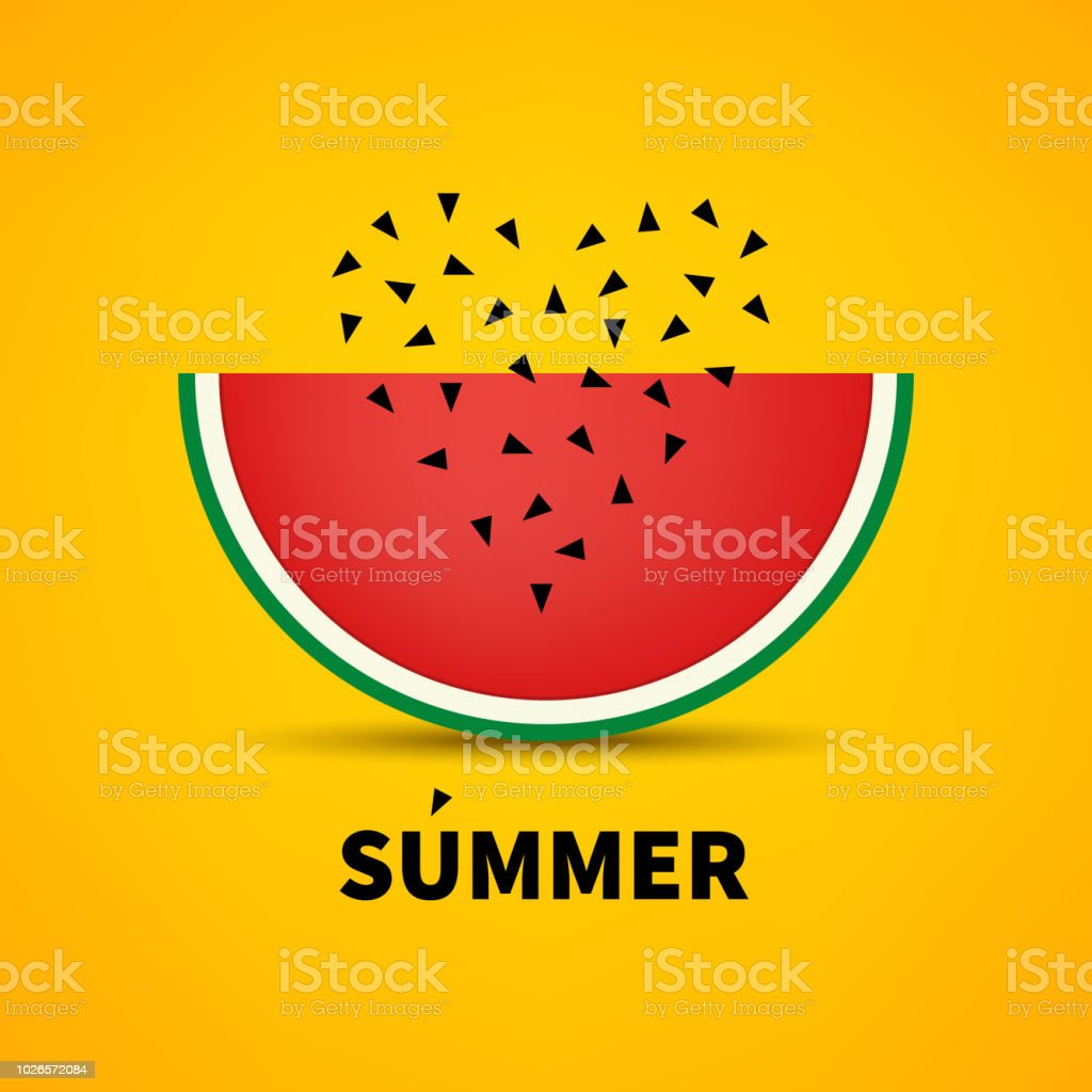 Watermelon With Seed Heart Love Food Vegetarian Vegan Vector Summer Banner Stock Illustration Download Image Now Istock