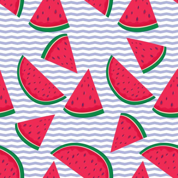 Watermelons Seamless Pattern vector art illustration