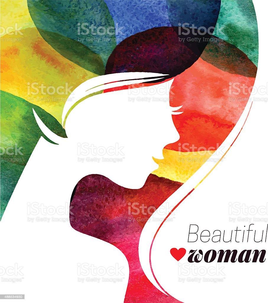 Waterсolor beautiful girl. Vector illustration of woman beauty vector art illustration