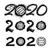 Set of three different new 2020 year numbers with waterpolo balls