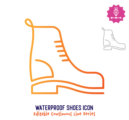 Waterproof Shoes Continuous Line Editable Stroke Line