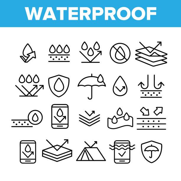 ilustrações de stock, clip art, desenhos animados e ícones de waterproof, water resistant materials vector linear icons set - durabilidade