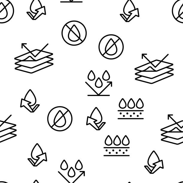 ilustrações de stock, clip art, desenhos animados e ícones de waterproof, water resistant materials vector seamless pattern - durabilidade