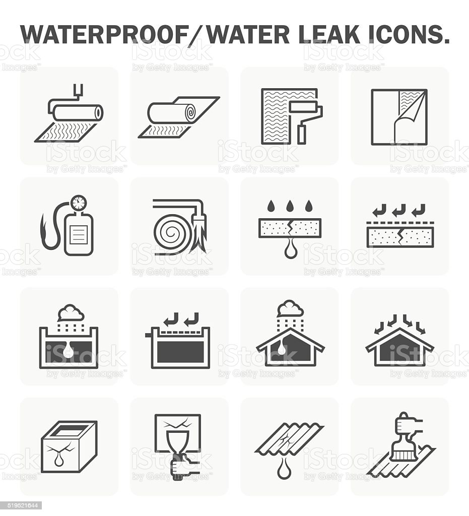 Waterproofing icon sets vector art illustration