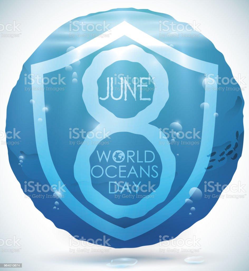 世界海洋デーのウォーター ビュー水円 - お祝いのロイヤリティフリーベクトルアート