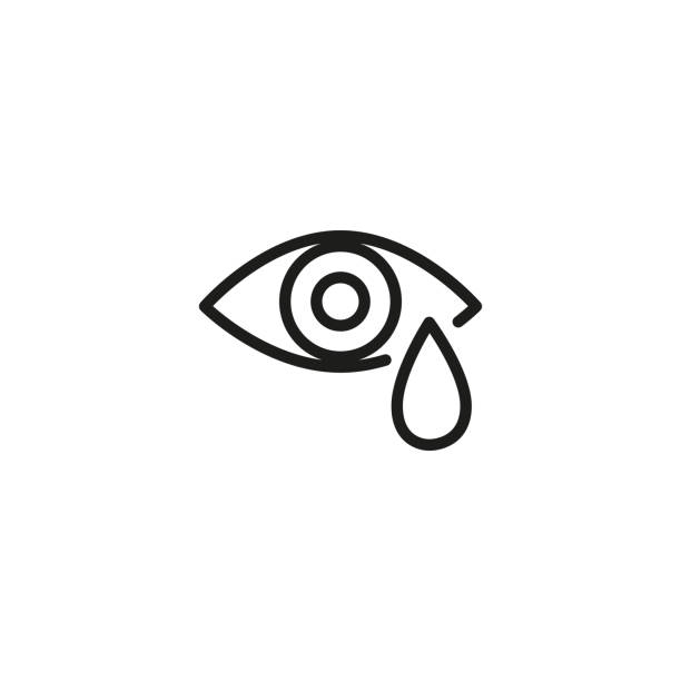 Watery eye line icon Watery eye line icon. Crying, eye drops, conjunctivitis. Allergy concept. Vector illustration can be used for topics like health, ophthalmology, emotions teardrop stock illustrations