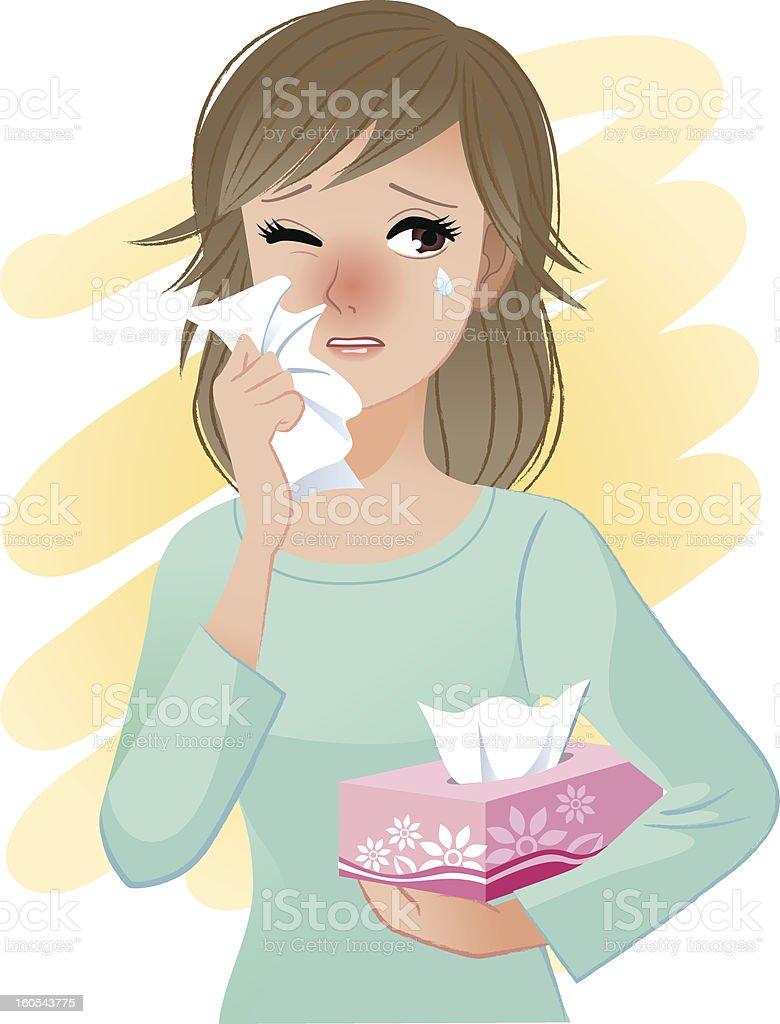 Watery eyed woman hodling facial tissue box vector art illustration