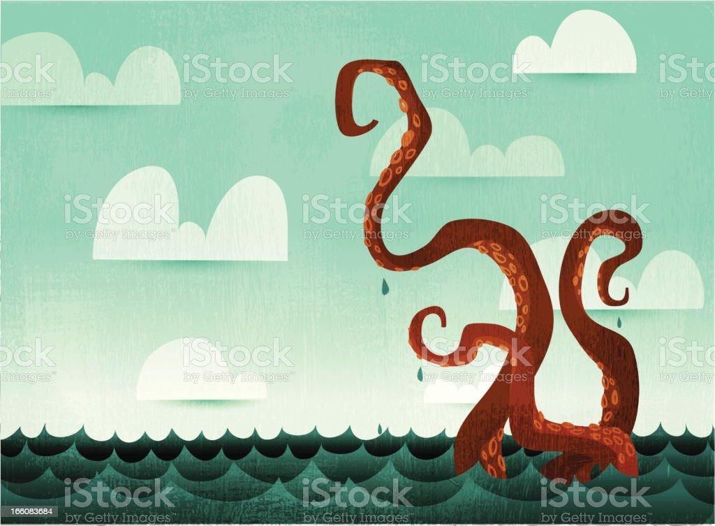 Tentáculos de polvo aquática - ilustração de arte em vetor