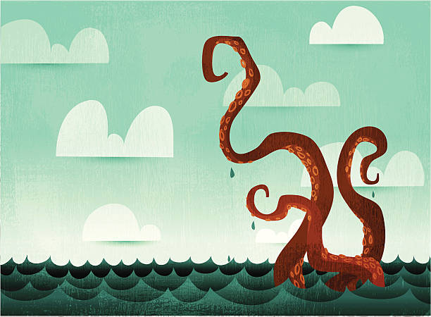 watery octopus tentacles - cartoon monsters stock illustrations, clip art, cartoons, & icons