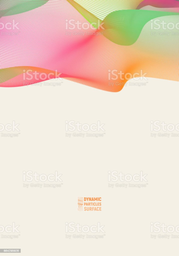 Wave 3d surface of particles. Abstract vector colorful mesh on light background. Futuristic style card. Elegant background royalty-free wave 3d surface of particles abstract vector colorful mesh on light background futuristic style card elegant background stock vector art & more images of abstract
