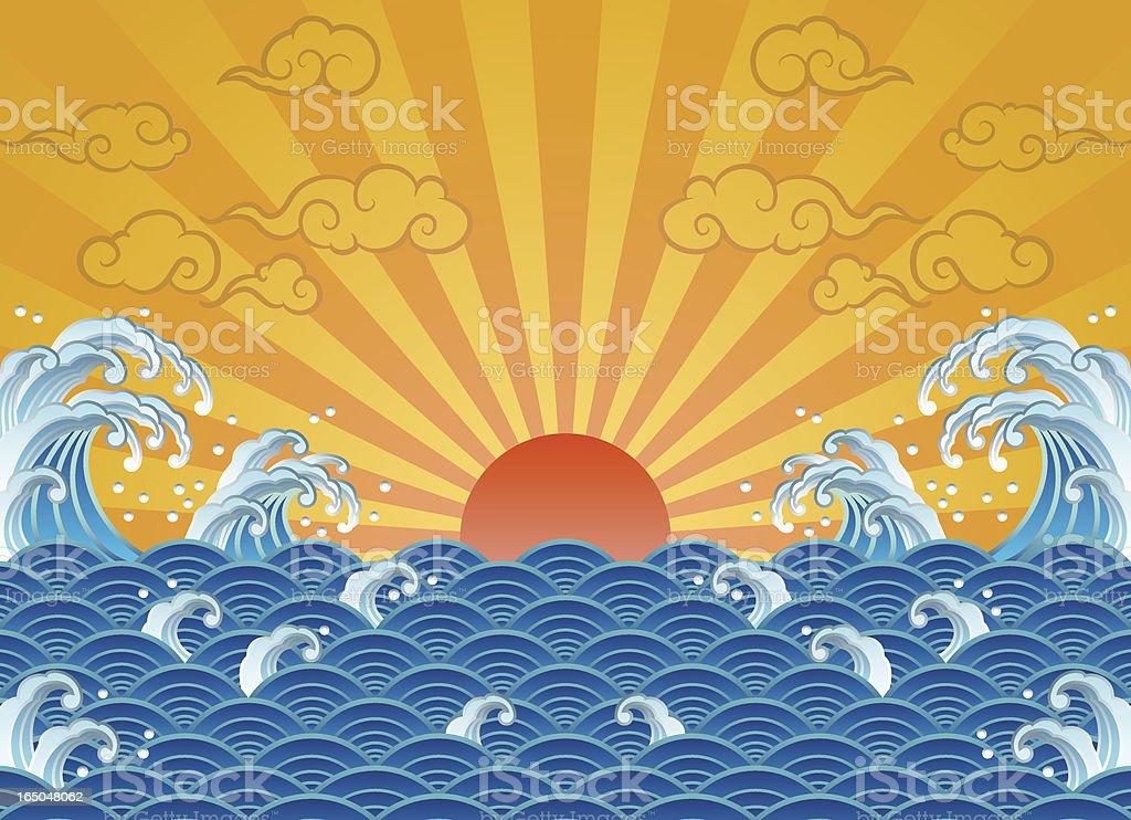 wave and sun vector art illustration