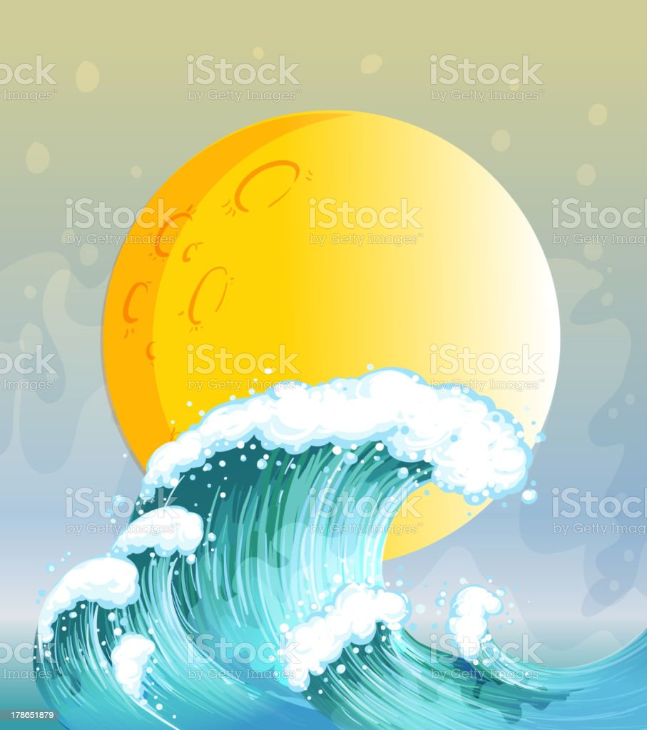 Wave and the big sun royalty-free stock vector art
