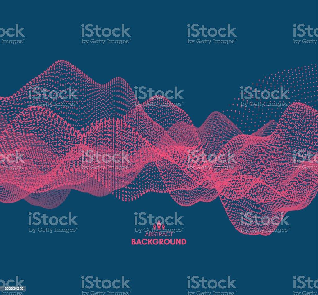 Fundo da onda. Ilustração em vetor abstrato. estilo de tecnologia 3D. Ilustração com pontos. Projeto de rede com partículas. - ilustração de arte em vetor