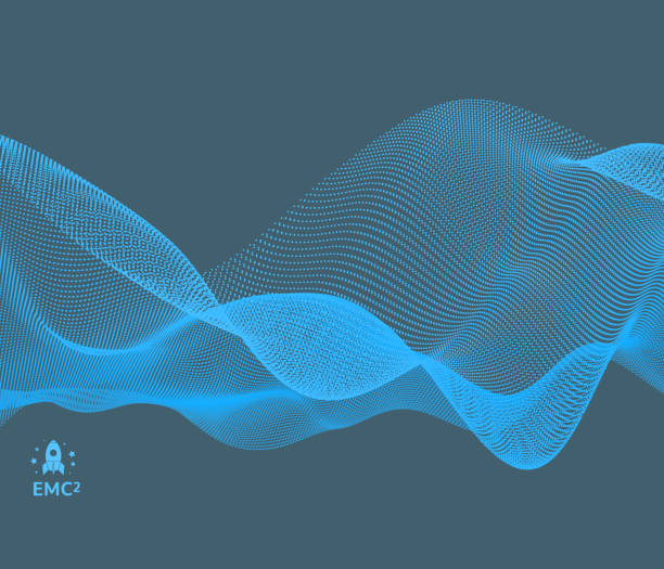 Wave background. Abstract vector illustration. 3d technology style. Illustration with dots. Network design with particle. vector art illustration