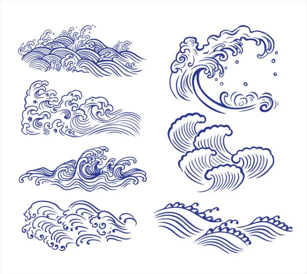 흔들다 디자인식 - 파도 stock illustrations