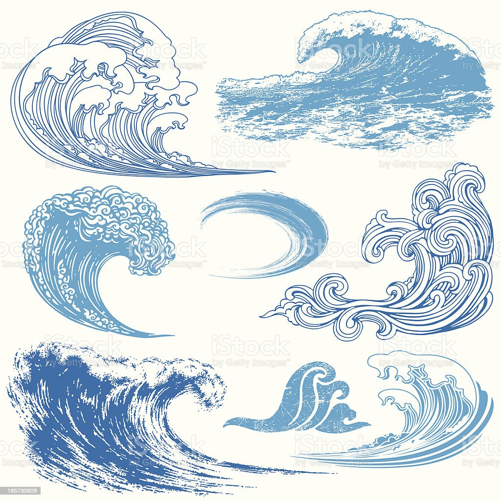 wave elements stock vector art   more images of blue 165730909 istock Japanese Cloud Clip Art Ocean Wave Vector Clip Art