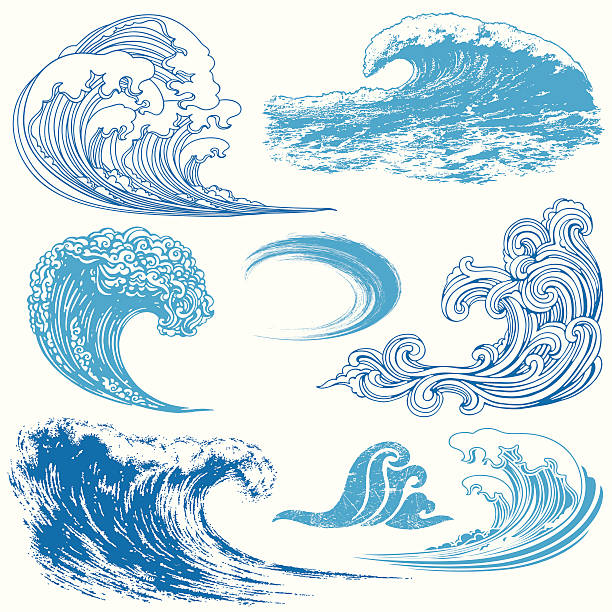 wave elements - tidal wave stock illustrations, clip art, cartoons, & icons