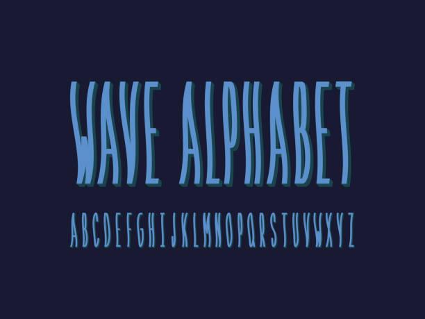 Wave font. Vector alphabet Wave font. Vector alphabet letters. Typeface design. tide stock illustrations