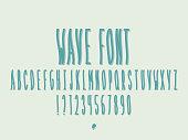 Wave font. Vector alphabet