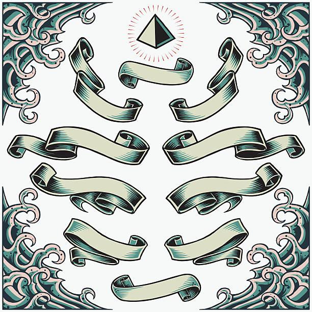 illustrations, cliparts, dessins animés et icônes de vague frame, rubans et pyramide - tatouages marins