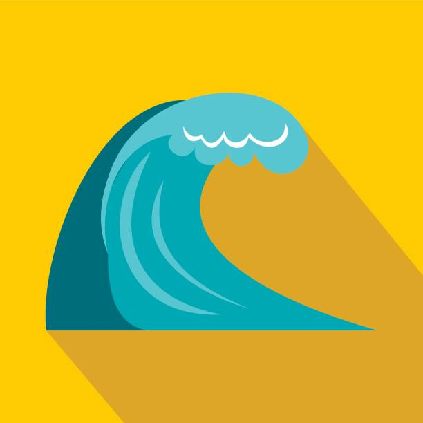 wave icon in flat style - tidal wave stock illustrations, clip art, cartoons, & icons