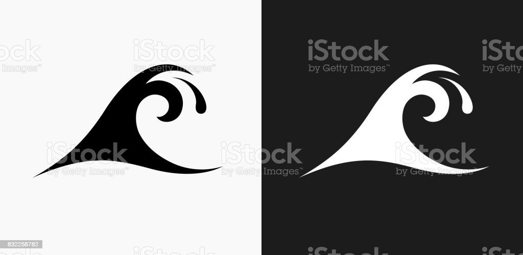 Wave Icon on Black and White Vector Backgrounds vector art illustration