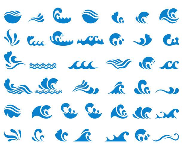 zestaw ikon fali - fala woda stock illustrations