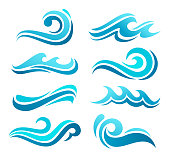 Vector illustration of the blue wave icon set.