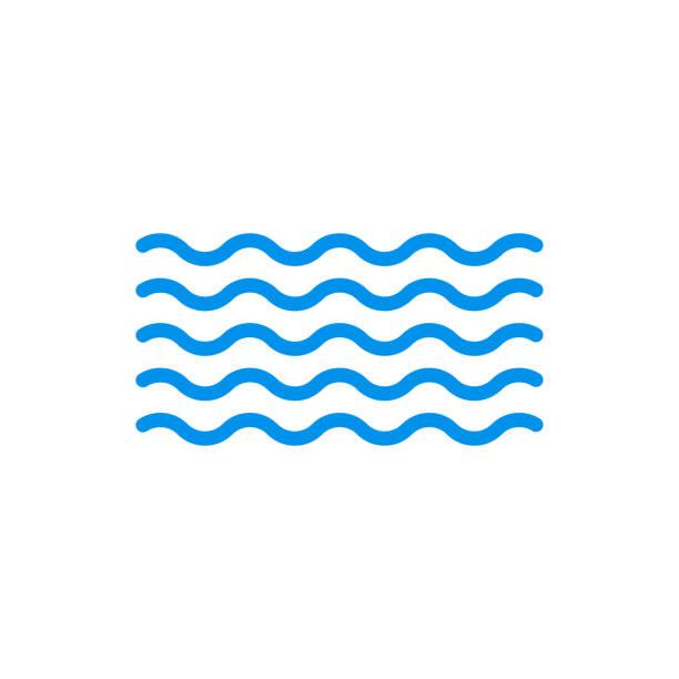ikona fali. symbol wody. znak zarysu morza i oceanu. ilustracja wektorowa. - fala woda stock illustrations