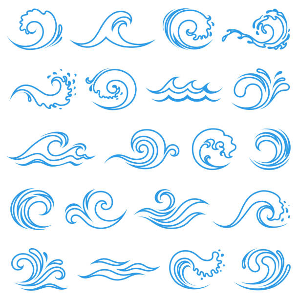 Wave icons Set of wave icons wave pattern stock illustrations
