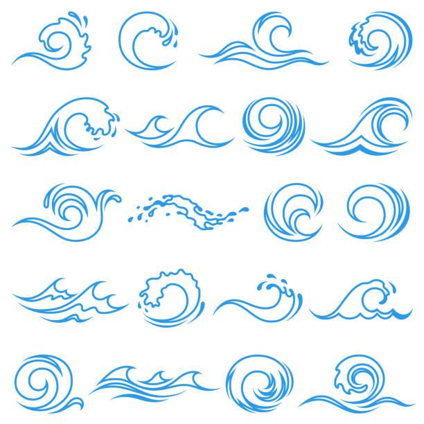 illustrazioni stock, clip art, cartoni animati e icone di tendenza di wave icons - nuoto mare