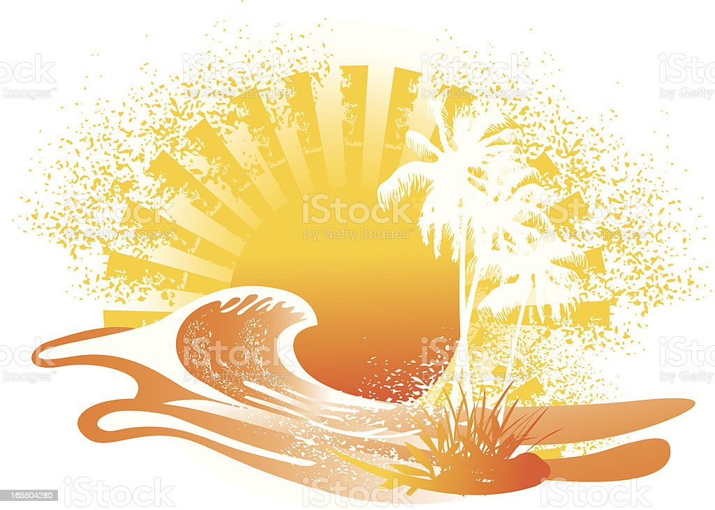 wave in hot summer sunset royalty-free wave in hot summer sunset stock vector art & more images of grunge image technique