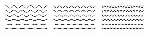 linia fali i faliste linie zygzaka. wektorowe czarne podkreślenia, gładkie końce faliste poziome krzywego squiggles - linia stock illustrations
