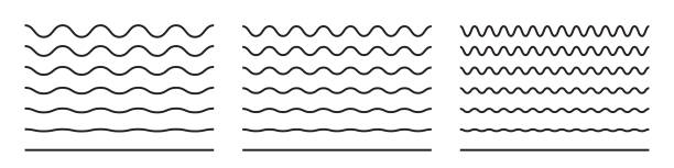 Wave line and wavy zigzag pattern lines. Vector black underlines, smooth end squiggly horizontal curvy squiggles Wave line and wavy zigzag pattern lines. Vector black underlines, smooth end squiggly horizontal curvy squiggles squiggle stock illustrations