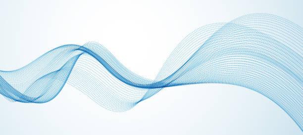 흐르는 입자 추상 벡터 배경, 부드러운 매력적인 모양의 도트 유체 배열 물결 라인. 3d 모양 도트 혼합 메쉬, 미래 기술 편안한 벽지. - future stock illustrations