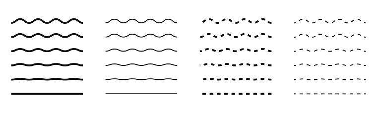 Wave line, vector wavy zigzag pattern on white background.