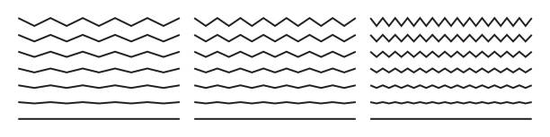 Wave lines, vector wavy zigzags and squiggly pattern lines. Vector curvy black squiggles and curvy underlines isolated set Wave lines, vector wavy zigzags and squiggly pattern lines. Vector curvy black squiggles and curvy underlines isolated set zigzag stock illustrations